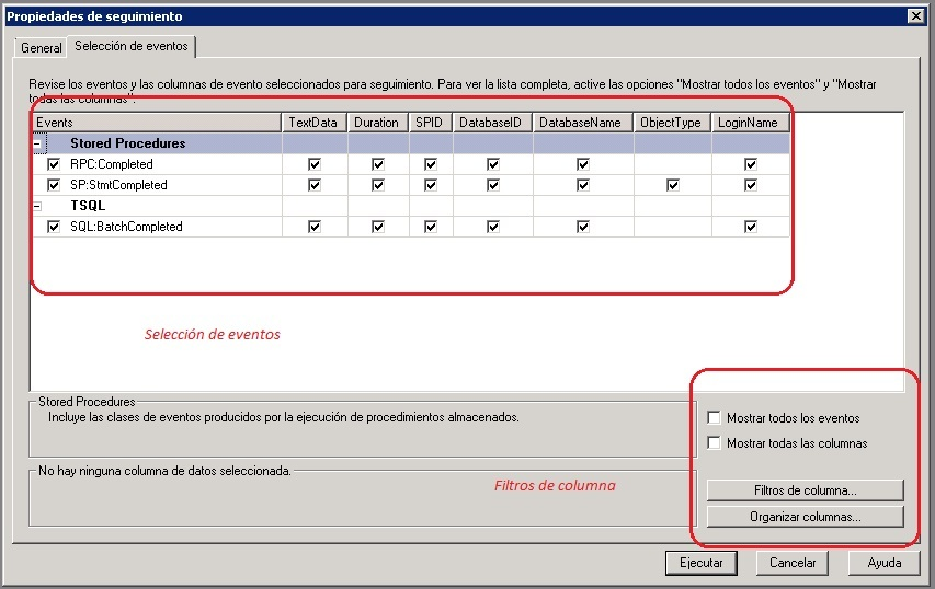 Stored procedures en SQL Server Profiler