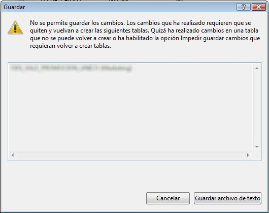 Error No se permite guardar los cambios en SQL Server