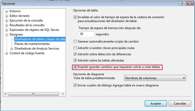 Impedir guardar cambios en SQL Server 2008