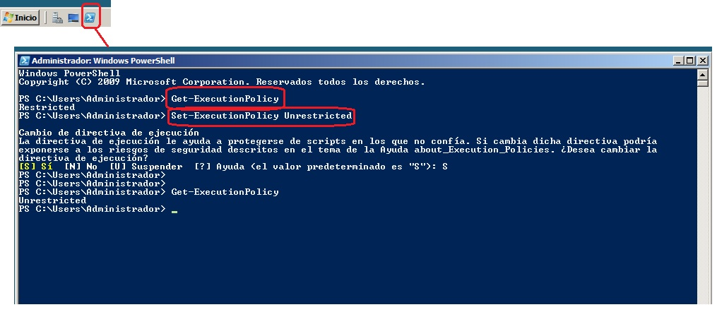 Administrador con Window Power Shell