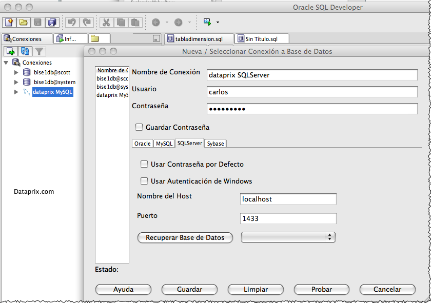Conexión a SQL Server con Oracle SQL Developer