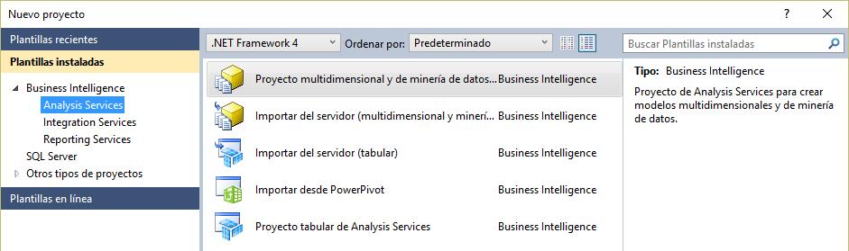 Plantillas de SQL Server Data Tools