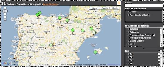 Mapa de catálogos de datos Open Data en España