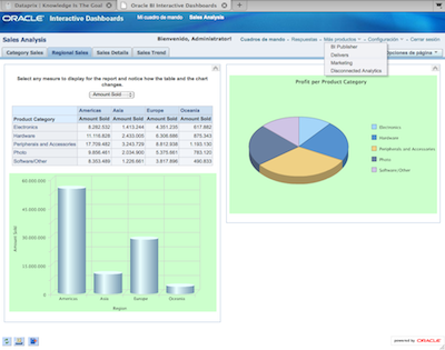 Dashboard de ejemplo de Oracle BISE1