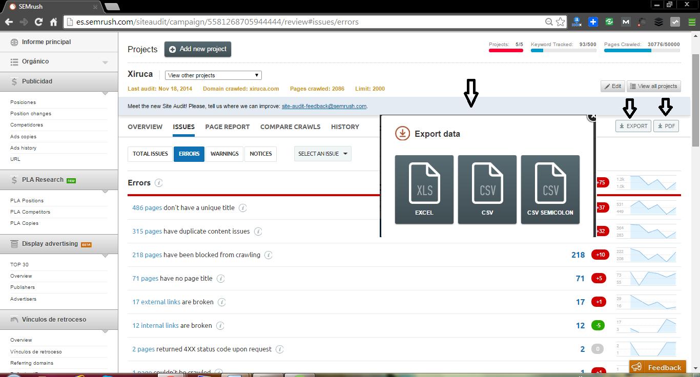 Download SEO audit results files on Semrush